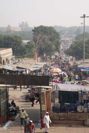 Vue vers le fort de Delhi