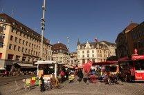 Un petit marché matinal pour débuter notre visite de Bâle