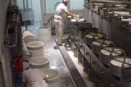 Il apose la date sur les meules de fromage fraichement formées
